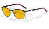 Ladies Blue Light Blocking Glasses with Amber Filter Lens - Stylish Computer Eyeglasses Women - Red LX19022-BB90