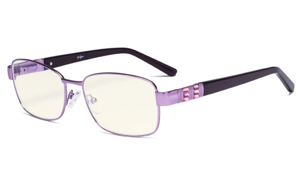 Ladies Blue Light Filter Glasses - UV Computer Eyeglasses Women Acetate Temples with Crystals - Reduce Eye Strain - Purple LX19007-BB40