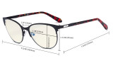 Ladies Blue Light Filter Glasses - UV420 Cateye Computer Eyeglasses - Anti Blue Ray Eyewears Women Black LX19024-BB40