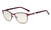 Ladies Blue Light Filter Glasses - Stylish Computer Eyeglasses Women - UV420 Filter Digital Screen Eyewear - Red LX19022-BB40