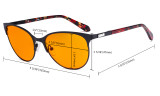Blue Light Blocking Glasses Women with Orange Tinted Filter Lens for Sleeping - Cateye Computer Eyeglasses - Anti Blue Ray Eyewears Women - Black LX19024-BB98