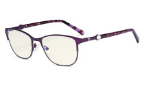 Ladies Blue Light Filter Glasses - Stylish Computer Eyeglasses Women - UV420 Filter Digital Screen Eyewear - Purple LX19022-BB40