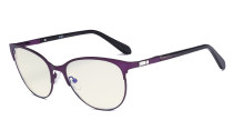 Ladies Blue Light Filter Glasses - UV420 Protection Cateye Computer Eyeglasses - Anti Blue Ray Eyewears Women Purple LX19024-BB40