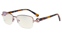 Half-rim Ladies Blue Light Filter Glasses - UV Protection Computer Eyeglasses Women Acetate Temples with Crystals - Pink LX19008-BB40