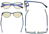 Stylish Ladies Blue Light Blocking Glasses with Yellow Filter Lens - Cat-eye Computer Eyeglasses Women Acetate Temples with Crystals - Blue LX19021-BB60