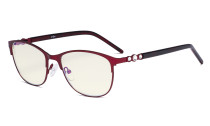 Cat-eye Ladies Blue Light Filter Glasses - UV Computer Eyeglasses Women Acetate Temples with Crystals - Red LX19020-BB40