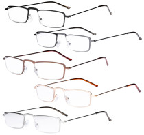 Reading Glasses 5-pack Lightweight Small Size Rectangle Frame Mixed Color Readers R15004-Mix
