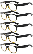 Reading Glasses 5-pack Retro Design Frame with Quality Spring Hinges Readers Black-Yellow R011-5pcs