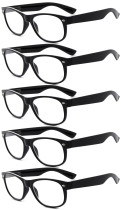Reading Glasses 5-pack Retro Design Frame with Quality Spring Hinges Readers Black R011-5pcs