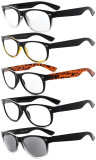 Reading Glasses 5 Pairs Mix Retro Design 80's Shaped-Frame Includes Sunshine Readers R011