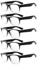 Reading Glasses 5-pack Retro Design Frame with Quality Spring Hinges Readers Black-Transparent R011-5pcs