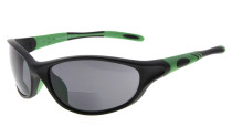 Bifocal Sunglasses Quality TR90 Frame Windproof Sports Design Running Driving Sunshine Readers Black-Green SG905-Bifocal