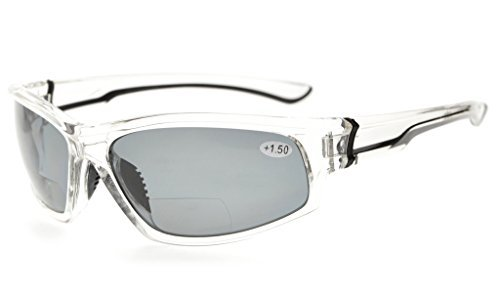 Bifocal Reading Sunglasses UV400 Protection Polarized with Quality TR90 Frame Clear/Grey lens TH6199PGSG