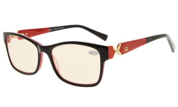 Computer Reading Glasses with Acetate Frames and Tinted Lens Black/Red AH6208