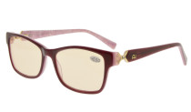 Computer Reading Glasses with Acetate Frames and Tinted Lens Purple/Purple Floral AH6208