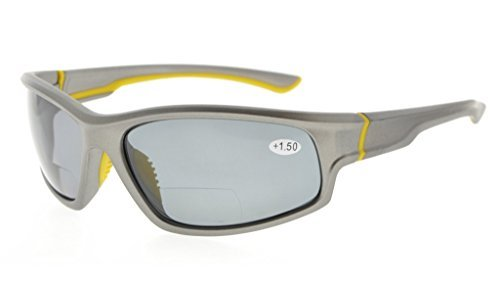 Bifocal Reading Sunglasses UV400 Protection Polarized with Quality TR90 Frame Grey/Grey lens TH6199PGSG
