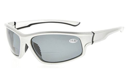 Bifocal Reading Sunglasses UV400 Protection Polarized with Quality TR90 Frame Silver/Grey lens TH6199PGSG