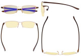 Computer Glasses - Blue Light Blocking Readers with Yellow Fliter Lens - Semi-rim Reading Glasses Women - Gold Frame TMCG12801