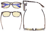 Blue Light Blocking Reading Glasses with Yellow Tinted Filter Lens - Square Nerd Computer Readers Women - Tortoise TMCGT1801