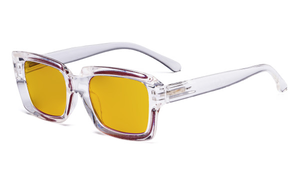 Blue Light Blocking Reading Glasses with Amber Tinted Filter Lens - Oversized Square Computer Readers Women Oprah - Transparent HP9107