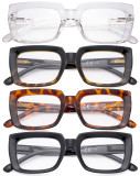 4 Pack Ladies Reading Glasses - Oprah Style Oversized Square Readers for Women R9107