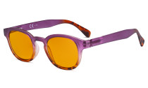 Ladies Blue Light Blocking Glasses with Orange Tinted Filter Lens for Sleeping - Anti Glare Computer Readers for Women Reading - Tortoise/Purple DS124D