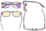 Blue Light Blocking Reading Glasses with Yellow Tinted Filter Lens - Square Nerd Computer Readers Women - Floral TMCGT1801