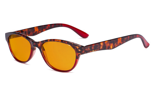 Ladies Blue Light Blocking Glasses with Orange Tinted Filter Lens for Sleeping - Cat-eye Computer Readers Women - Tortoise/Red DS074D