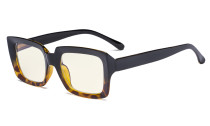 Computer Glasses - Blue Light Filter Readers Women Oprah - UV420 Oversized Square Reading Glasses - Black/Tortoise UVR9107