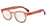 Ladies Computer Glasses - Blue Light Filter Readers for Women Reading - UV420 Anti Glare Reading Glasses - Tortoise/Pink UVR124D