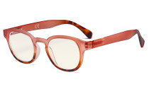 Ladies Computer Glasses - Blue Light Filter Readers for Women Reading - UV420 Anti Glare Reading Glasses - Tortoise/Pink UVR124D