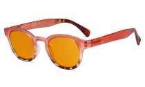 Ladies Blue Light Blocking Glasses with Orange Tinted Filter Lens for Sleeping - Anti Glare Computer Readers for Women Reading - Tortoise/Pink DS124D