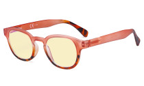 Ladies Blue Light Blocking Glasses with Yellow Filter Lens - Anti Glare Computer Readers for Women Reading - Tortoise/Pink TM124D