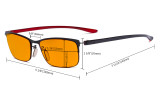 Computer Glasses - Blue Light Blocking Readers with Orange Tinted Fliter Lens for Sleeping - Semi-rim Reading Glasses Women - Black Frame DS12801