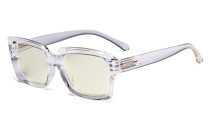 Computer Glasses - Blue Light Filter Readers Women Oprah - UV420 Oversized Square Reading Glasses - Transparent UVR9107