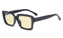 Blue Light Blocking Reading Glasses with Yellow Filter Lens - Oversized Square Computer Readers Women Oprah - Black TM9107