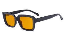 Blue Blocking Reading Glasses with Orange Tinted Filter Lens for Sleeping - Oversized Square Computer Readers Women Oprah - Black DS9107