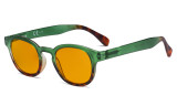 Ladies Blue Light Blocking Glasses with Orange Tinted Filter Lens for Sleeping - Anti Glare Computer Readers for Women Reading - Tortoise/Green DS124D