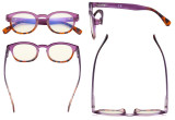 Ladies Computer Glasses - Blue Light Filter Readers for Women Reading - UV420 Anti Glare Reading Glasses - Tortoise/Purple UVR124D