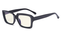 Computer Glasses - Blue Light Filter Readers Women Oprah - UV420 Oversized Square Reading Glasses - Black UVR9107