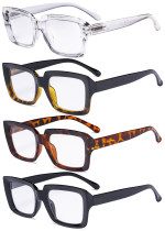 4 Pack Ladies Reading Glasses - Stylish Oversized Square Readers for Women R9107