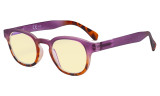 Ladies Blue Light Blocking Glasses with Yellow Filter Lens - Anti Glare Computer Readers for Women Reading - Tortoise/Purple TM124D