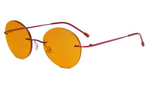 Randlose Blaulichtblockierung Brille mit Orange getönter Gläsern zum Schlafen - Runde randlose Computerbrille Herren Damen Rot-BB98 Gläser DSWK9910