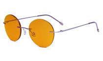 Randlose Blaulichtblockierung Brille mit Orange getönter Gläsern zum Schlafen - Runde randlose Computerbrille Herren Damen Lila-BB98 Gläser DSWK9910