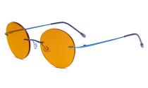Randlose Blaulichtblockierung Brille mit Orange getönter Gläsern zum Schlafen - Runde randlose Computerbrille Herren Damen Blau-BB98 Gläser DSWK9910