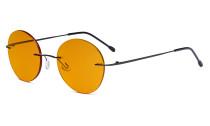 Randlose Blaulichtblockierung Brille mit Orange getönter Gläsern zum Schlafen - Runde randlose Computerbrille Herren Damen Schwarz -BB98 Gläser DSWK9910