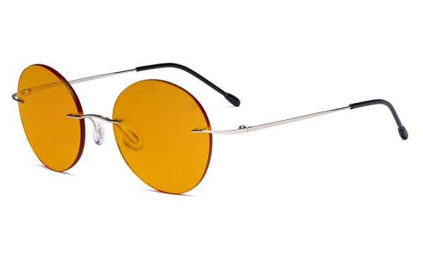 Randlose Blaulichtblockierung Brille mit Orange getönter Gläsern zum Schlafen - Runde randlose Computerbrille Herren Damen Silber-BB98 Gläser DSWK9910