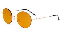 Randlose Blaulichtblockierung Brille mit Orange getönter Gläsern zum Schlafen - Runde randlose Computerbrille Herren Damen Gold-BB98 Gläser DSWK9910