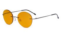 Randlose Blaulichtblockierung Brille mit Orange getönter Gläsern zum Schlafen - Runde randlose Computerbrille Herren Damen Metallisch Blaugrau -BB98 Gläser  DSWK9910