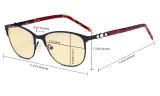 Cat-eye Damen-Blaulicht-Schutzbrille mit gelber Filtergläser - Computerbrille Damen-Acetat-Bügel mit Kristallen -LX19020-Rot-BB60